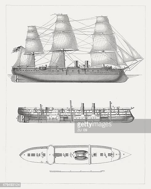 ドイツ軍艦、1878 年に公開された - 軍艦点のイラスト素材/クリップアート素材/マンガ素材/アイコン素材