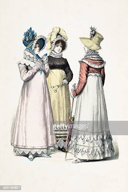 german women of strasbourg in traditional clothing from 1670 - bonnet stock illustrations, clip art, cartoons, & icons