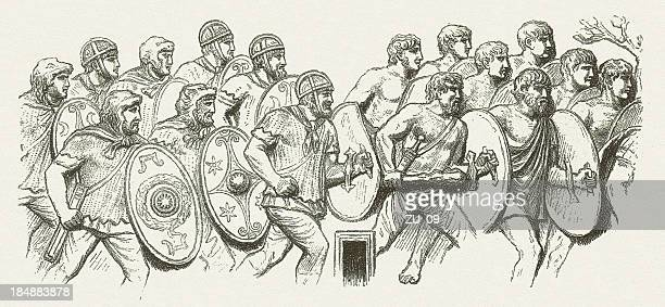 germanic bodyguards of the roman emperor, from column of trajan - bas relief stock illustrations