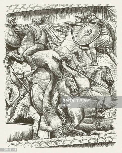 germanic cavalry (base-relief from colonna antonina), wood engraving, published 1880 - bas relief stock illustrations