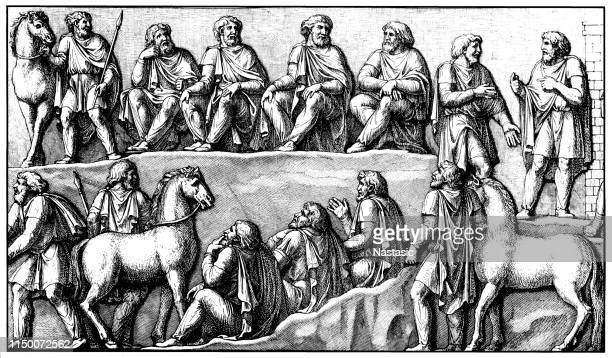 germanic council meeting, relief on the victory column marcus aurelius, rome, italy - bas relief stock illustrations