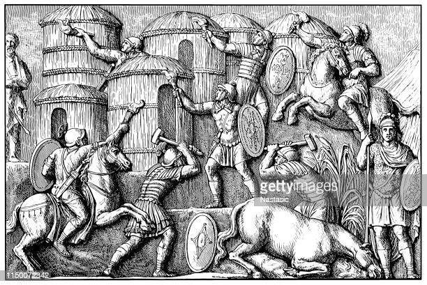 germanic settlement is destroyed by the romans, detail, the ancient roman victory column of marcus aurelius on piazza colonna square, ancient rome, lazio, italy, europe - bas relief stock illustrations