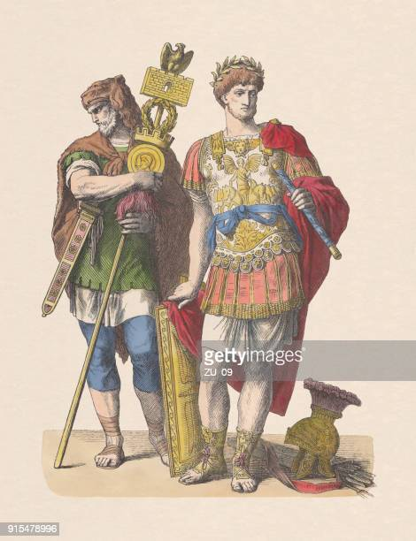 germanic standard bearer and roman commander, hand-colored woodcut, published c.1880 - ancient rome stock illustrations, clip art, cartoons, & icons
