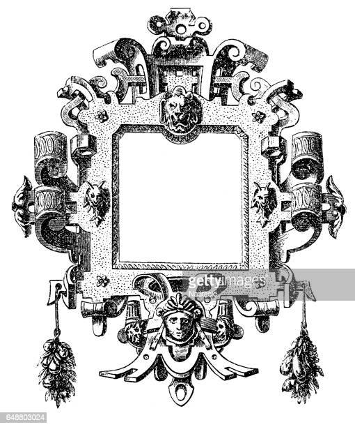 illustrations, cliparts, dessins animés et icônes de cartouche de la renaissance de l'allemagne - marteaudeporte