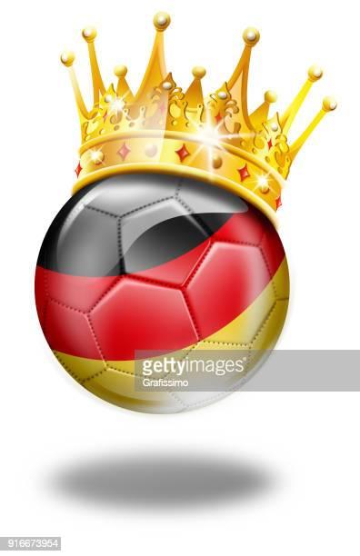 deutschland fußball mit deutscher flagge und krone - deutsche flagge stock-grafiken, -clipart, -cartoons und -symbole