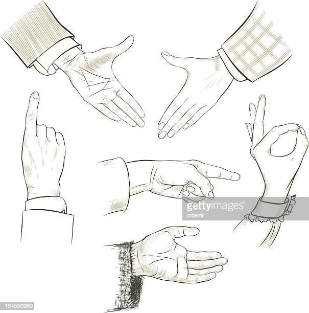 gesturing hands set - long sleeved stock illustrations
