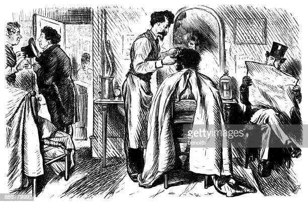 getting a haircut - history stock illustrations, clip art, cartoons, & icons