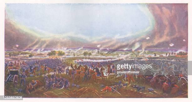 gettysburg by james walker - 19th century - battle of gettysburg stock illustrations