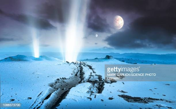 geysers on extrasolar ice world, illustration - extrasolar planet stock illustrations