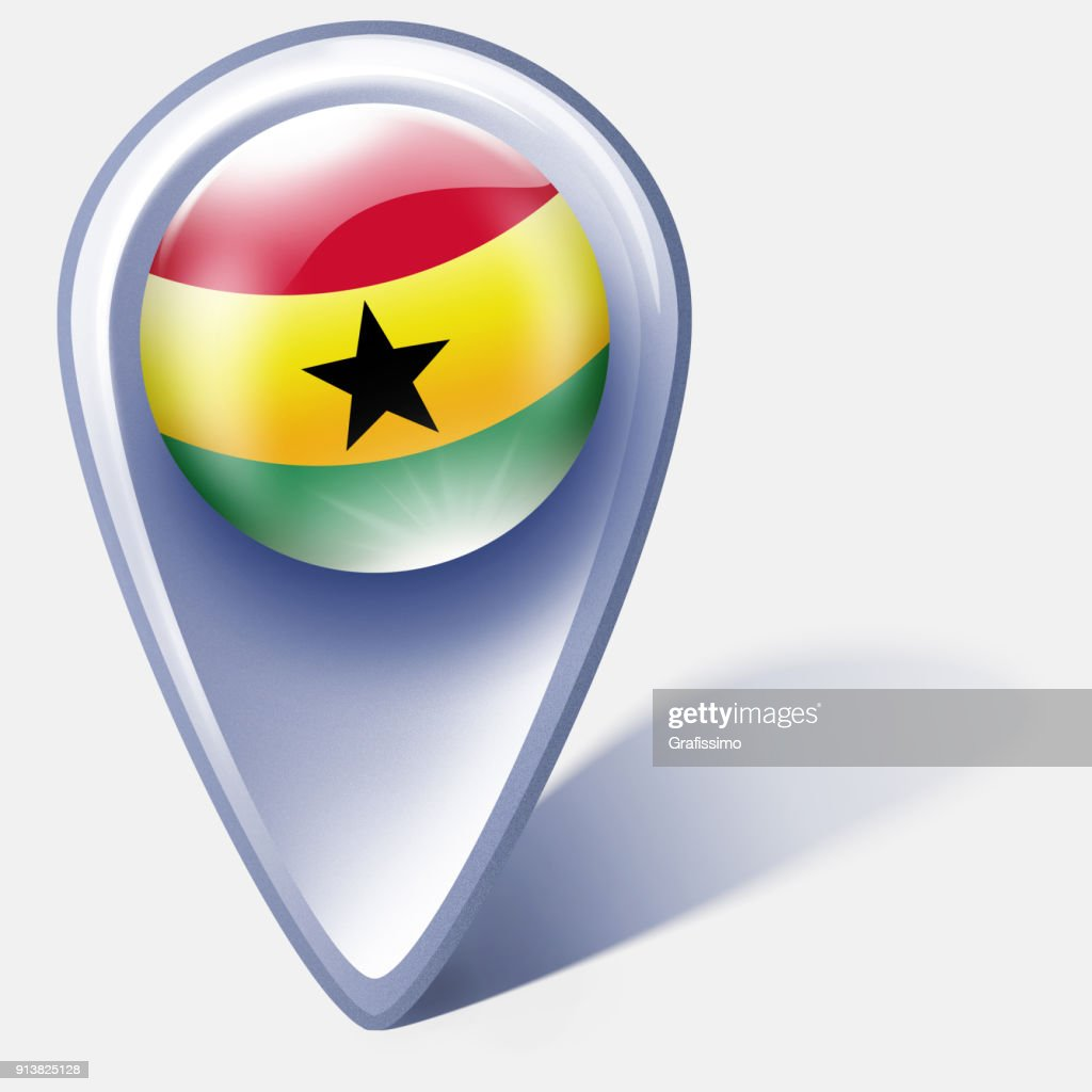 Ghana button map pointer with flag isolated on white : Stock Illustration