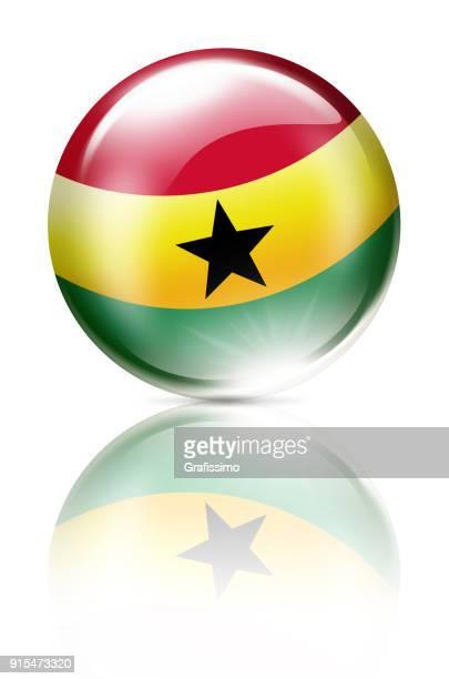 ghana button with flag isolated on white - ghana flag stock illustrations, clip art, cartoons, & icons