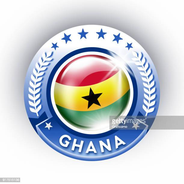 ghana button with flag isolated on white - ghana stock illustrations, clip art, cartoons, & icons