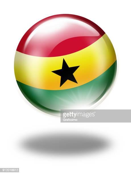 ghana button with ghanaian flag isolated on white - ghana flag stock illustrations, clip art, cartoons, & icons