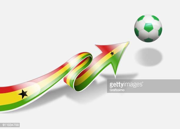 ghana ghanaian flag with arrow upwards soccer ball - ghana flag stock illustrations, clip art, cartoons, & icons