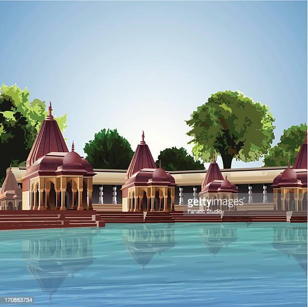 ghats of a river, ganges river, varanasi, uttar pradesh, india - ghat stock illustrations