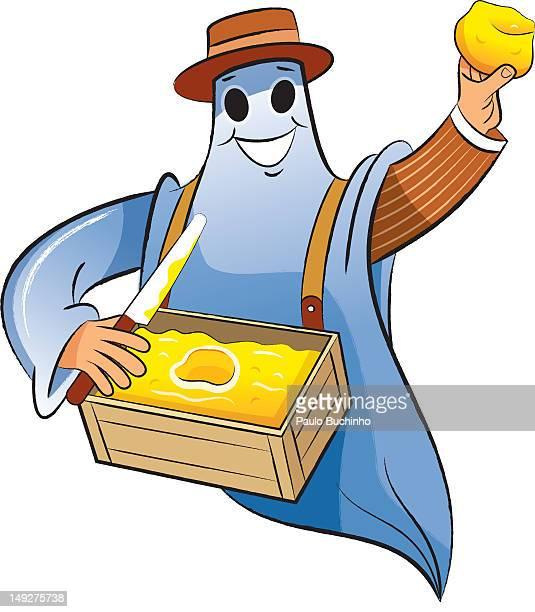 ilustrações de stock, clip art, desenhos animados e ícones de a ghost holding a box of butter - buchinho