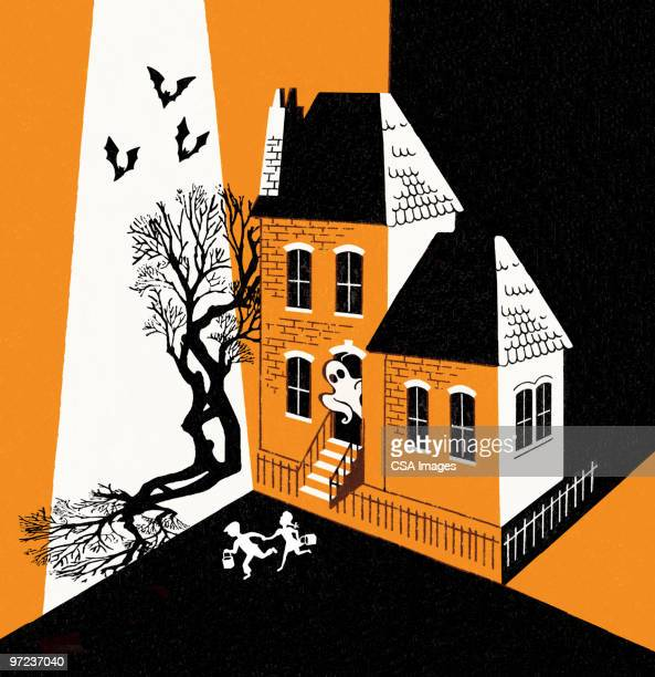 ghost scaring children on halloween - facade stock illustrations
