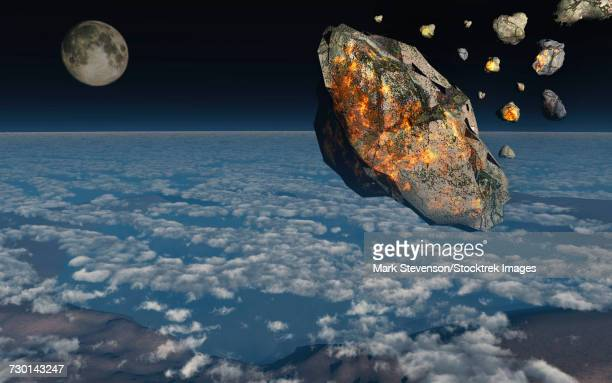 a giant asteroid burning up in the earths atmosphere. - judgment day apocalypse stock illustrations, clip art, cartoons, & icons