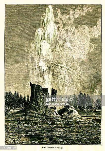 giant geyser in yellowstone national park, usa | historic illustrations - volcanic crater stock illustrations, clip art, cartoons, & icons