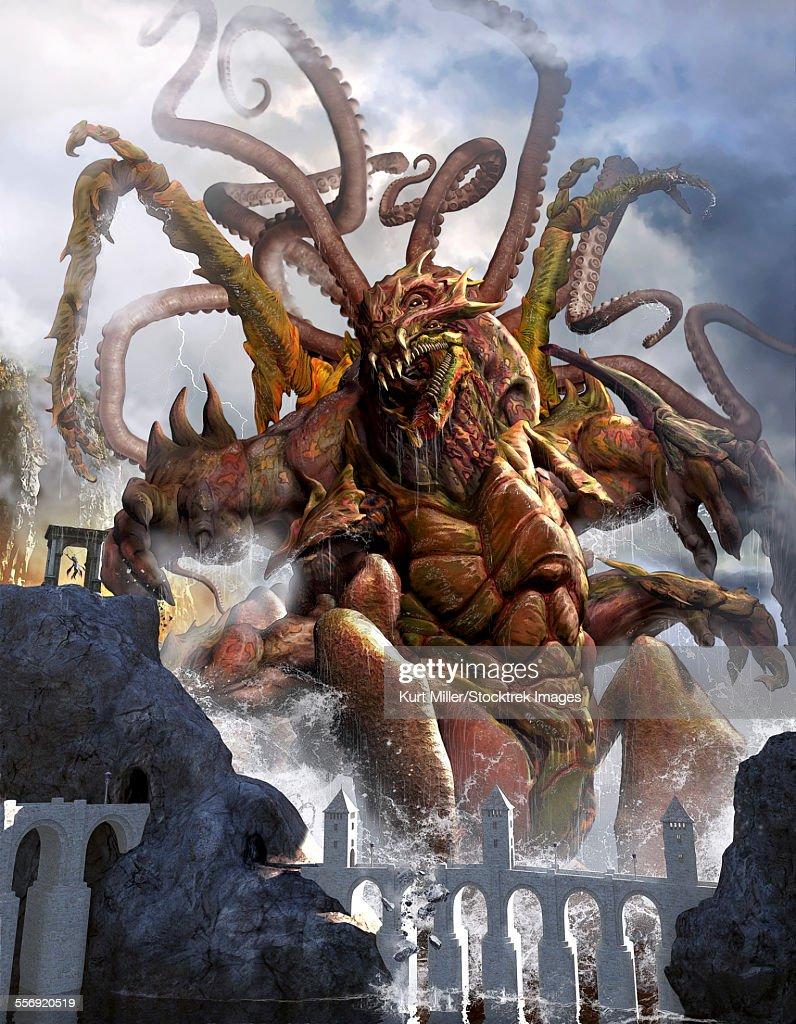 A giant Kraken emerging out of the ocean shore to feast on the chosen one. : Ilustración de stock