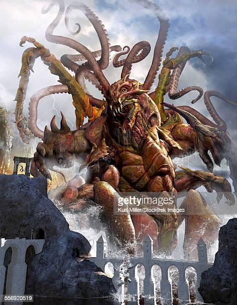 ilustraciones, imágenes clip art, dibujos animados e iconos de stock de a giant kraken emerging out of the ocean shore to feast on the chosen one. - criptozoología