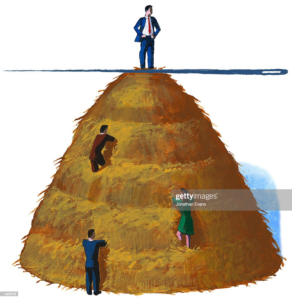 Giant Needle in Haystack : Stock Illustration