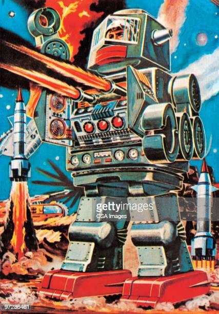 giant robot - war stock illustrations