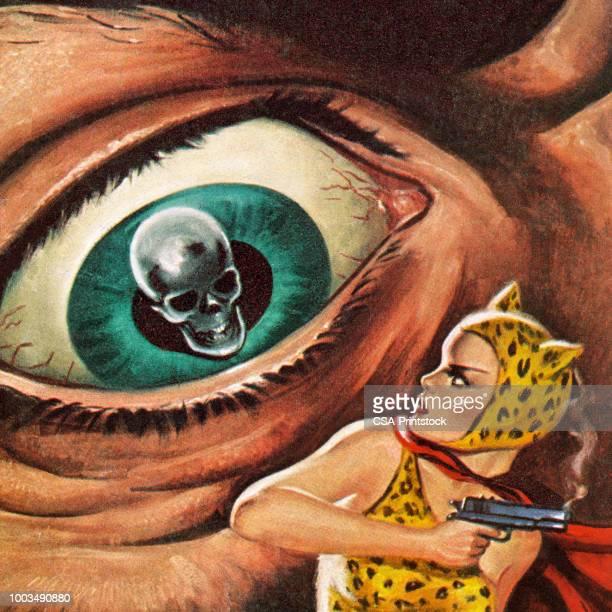 巨大な頭蓋骨の目 - ショック点のイラスト素材/クリップアート素材/マンガ素材/アイコン素材