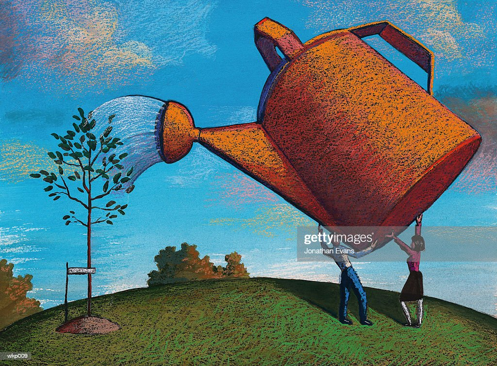Giant Watering Can & Tree : Stock Illustration