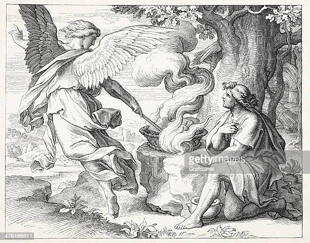 gideon and angel - biblical event stock illustrations