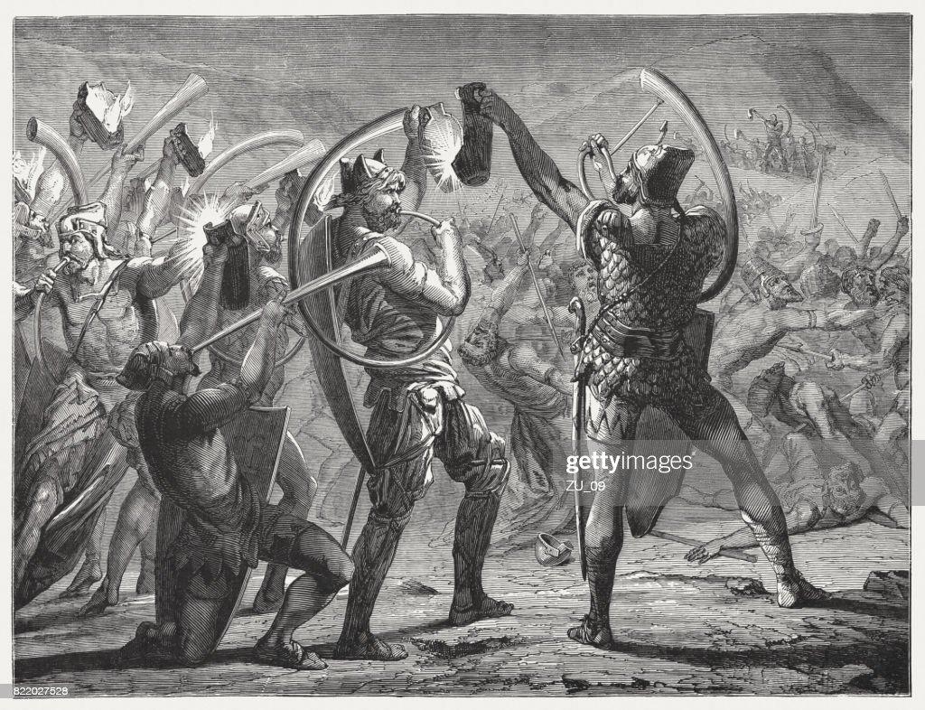 Gideon's Battle Against the Midianites (Judges 7, 20), published 1886 : stock illustration