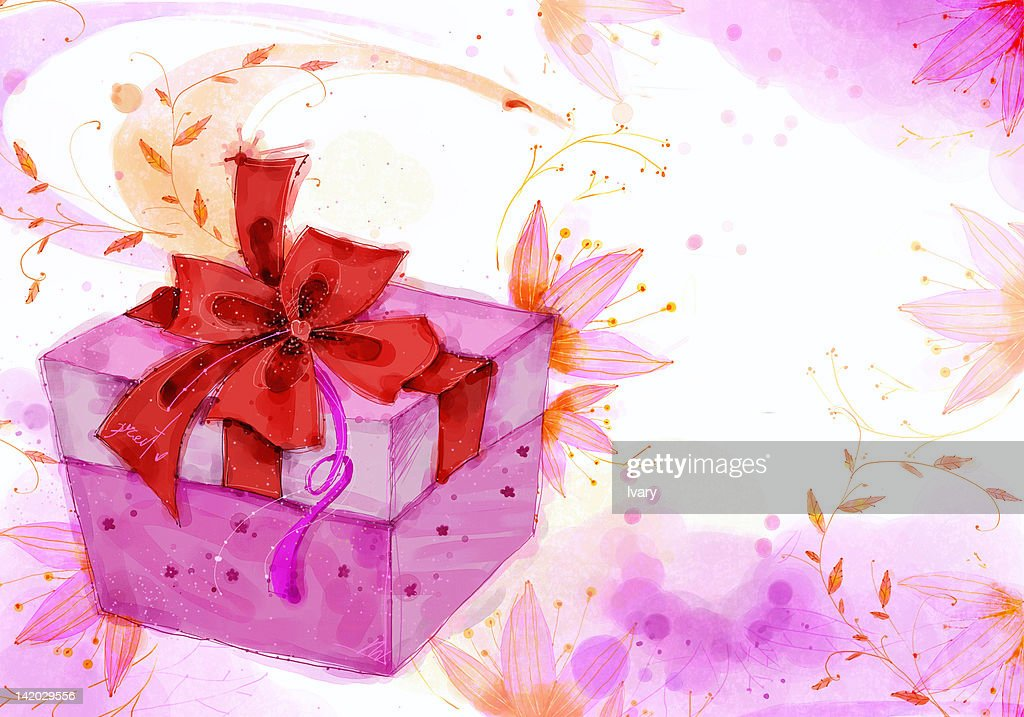 Gift box with red ribbon on flora background gift box with red ribbon on flora background negle Images