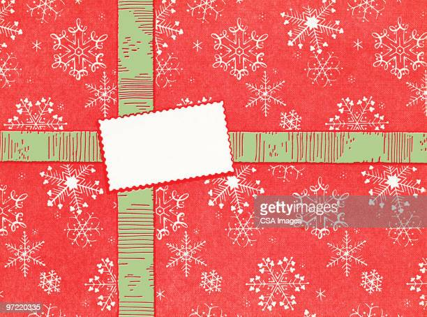 gift wrapped in red with green ribbon - giving stock illustrations