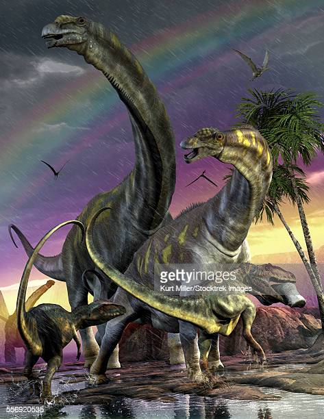 A Giganotosaurus trying to take down a young Argentinosaurus who are among the largest animals to walk on Earth.