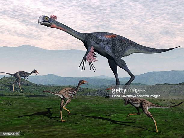 Gigantoraptor surrounded by small Mononykus dinosaurs.