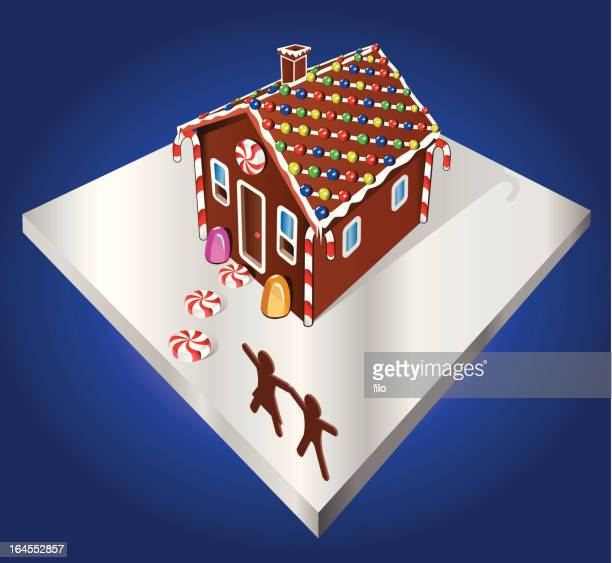 gingerbread house [vector] - gingerbread house stock illustrations, clip art, cartoons, & icons