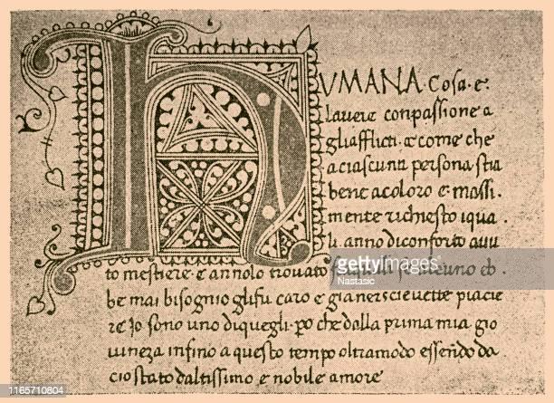 """giovanni boccaccio manuscript of the """"decamerone"""" - manuscript stock illustrations"""