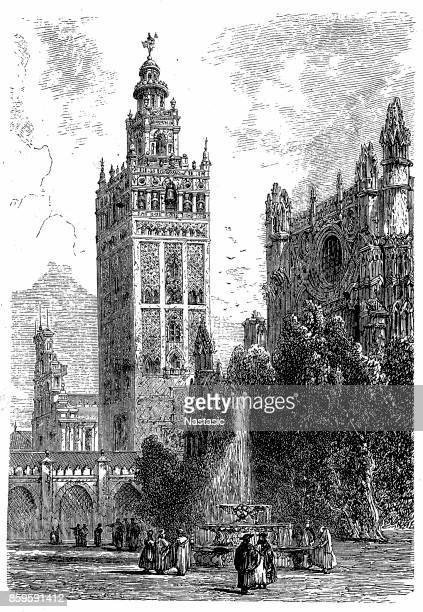 giralda, seville cathedral in seville, spain - seville stock illustrations, clip art, cartoons, & icons