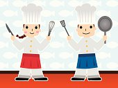 Girl and Boy chef holding kitchen utensils