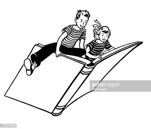 ilustraciones, imágenes clip art, dibujos animados e iconos de stock de girl and boy riding a reservar - libros volando