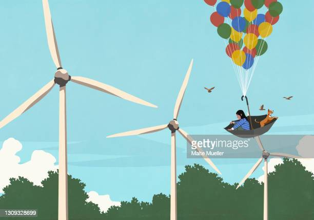 girl and dog floating in balloon umbrella above wind turbines - exploration stock illustrations