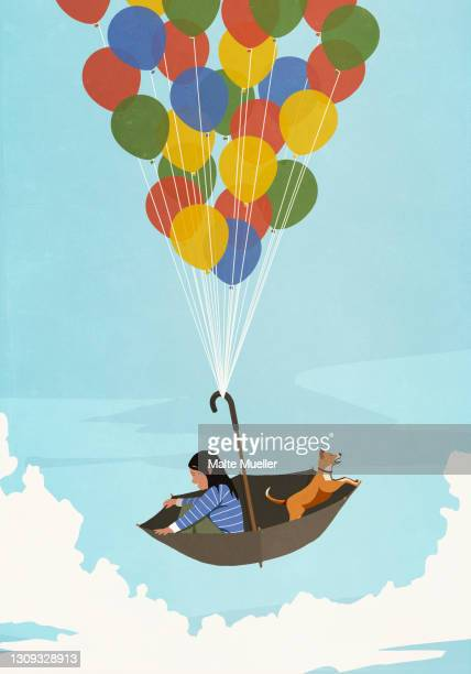 girl and dog floating in balloon umbrella in blue sky - opportunity stock illustrations