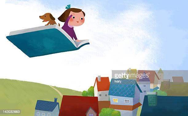 ilustraciones, imágenes clip art, dibujos animados e iconos de stock de girl and dog flying on book above town - libros volando