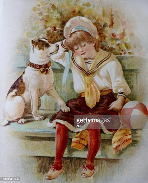Girl and dog sittin on a bench, outdoor, summer