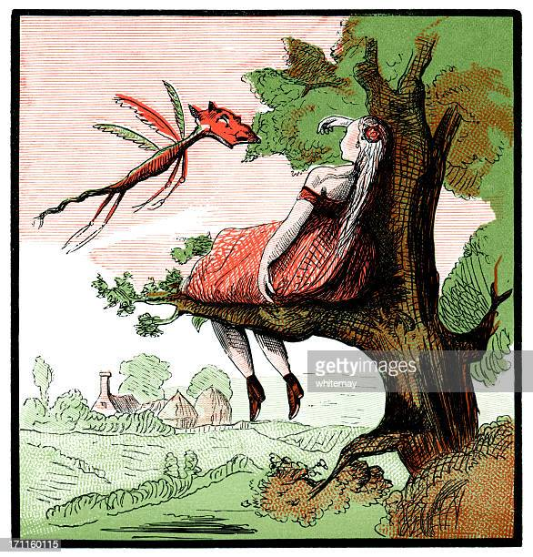 Girl asleep in a tree, strange insect approaching (Victorian cartoon)