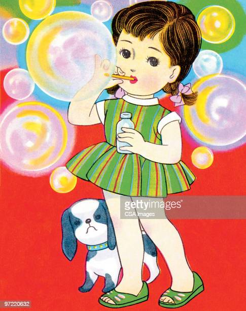 girl blowing bubbles - toddler stock illustrations