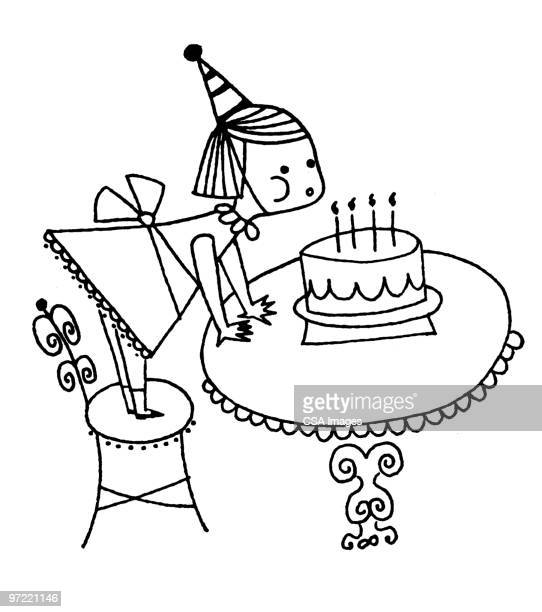 girl blowing out candles - cake stock illustrations
