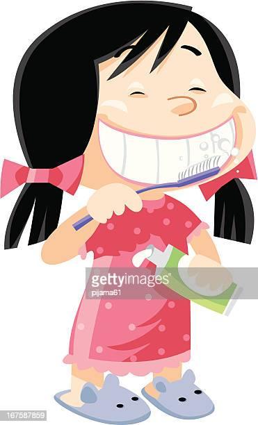 girl brushing her teeth - brushing teeth stock illustrations