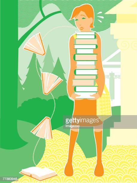 girl carrying a stack of books - enciclopedia stock illustrations, clip art, cartoons, & icons