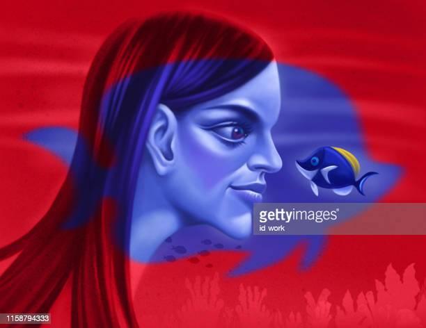 girl communicating blue surgeon fish - acanthuridae stock illustrations, clip art, cartoons, & icons